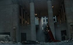Superman hugging Lois after killing Zod