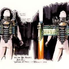 Concept art for Mr. Freeze's jetpack.