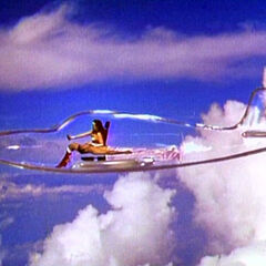 Wonder Woman flying the invisible plane.