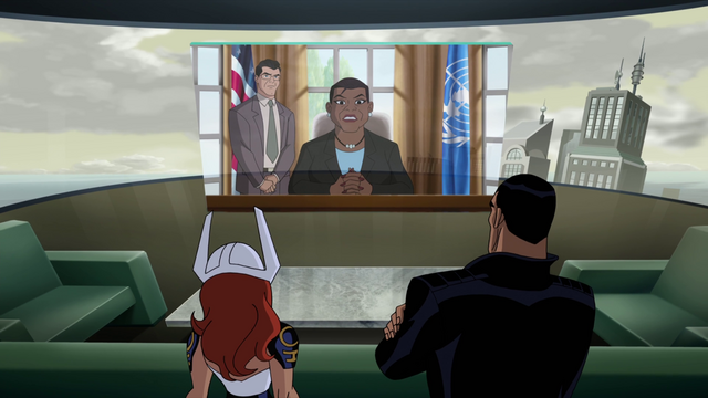 File:Reciving a message from President Amanda Waller JLG&M.png