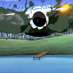 Superman stops a damaged plane.