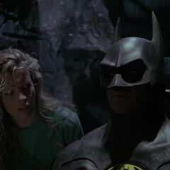 Vicki and Batman in the Batcave.