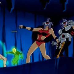 Starro attacks Barda and Warhawk.