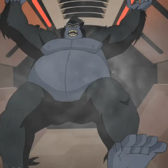 Grodd falling into space.
