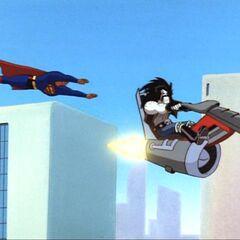 Superman follows Lobo.