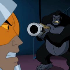 Grodd about to kill Lex Luthor.