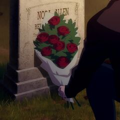 Barry leaving flowers at his mother's grave.