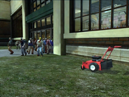 Dead rising lawn mower outside of food court
