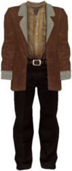 Dead rising Brown Jacket with Fur Trim Tan Shirt and Black Pants