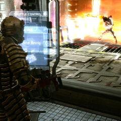 Айзек наконец убил Охотника пламенем из двигателей челнока