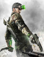 Splinter Cell - Sam Fisher wielding his knife and pistol