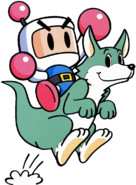 Bomberman - Bomberman riding on Louie, also known as Rooney