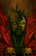 Spawn - Spawn's close-up as part of his mask peels off