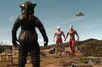 Mefilas faces Ultraman, Mebius, and GUYS