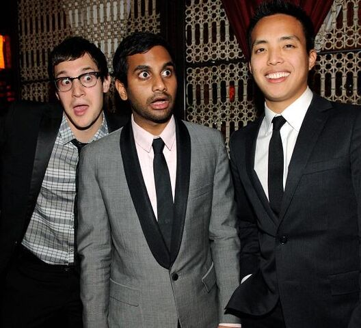 File:Dan-Levy-Aziz-Ansari-and-Alan-Yang-at-LAVO-570.jpg