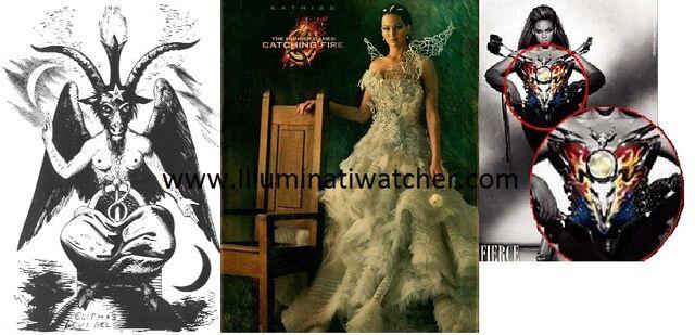 File:Baphomet on Katnisses and Beyonces Dress from Illuminati WatcherDotCom.jpg