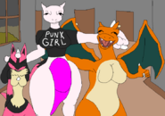Kawaii, Mewfour and Charizard taking a pic