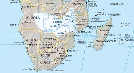 Map of Zambezi River drainage