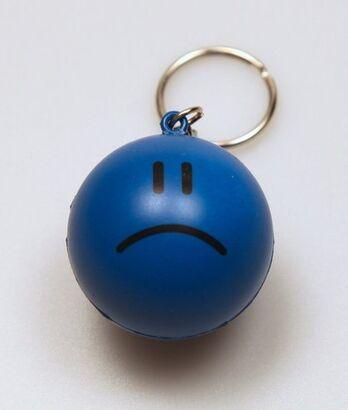 Sad Face Stress Ball Keychain
