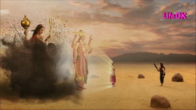 File:Mohini and Lord Vishnu Protect Bhramari Devi From Mahishi.png