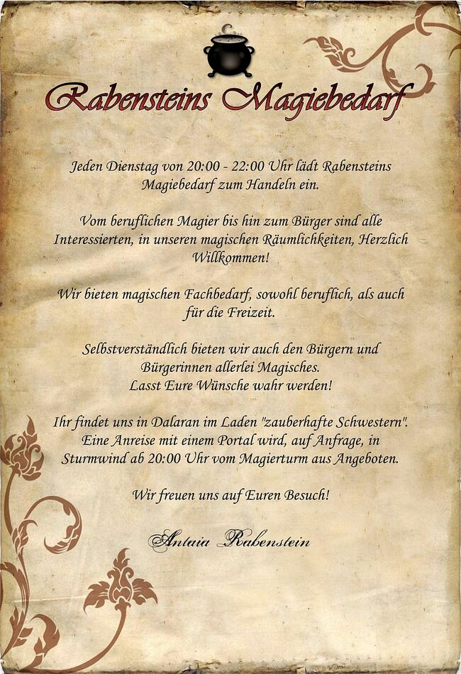 Rabensteins Magiebedarf EinladungsschreibenI