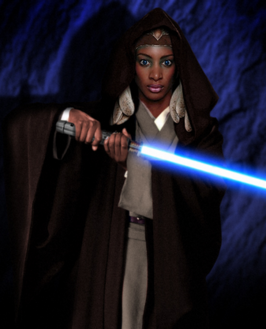 Adi with lightsaber out