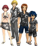 "Marcus Damon, Thomas H. Norstein, Yoshino ""Yoshi"" Fujieda, and Keenan Crier (Black Vacation Clothes) dm"