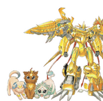 Shoutmon EX6 and Royal Knights squires (Cat forms) m