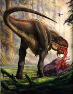 Giganotosauro che mangia una carcassa