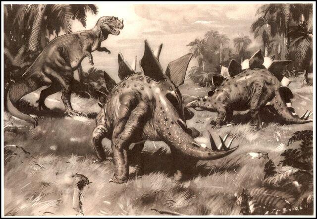 File:Burian Stegosaurus and ceratosaurus.jpg