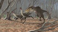 Tarbosaurus and gallimimus by jconway-d3107eb