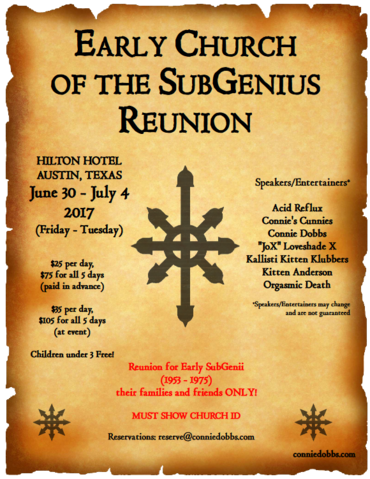 The Early Church of the SubGenius Reunion, one of the inspirations for The Gathering at The Grove. The use of this image from the Early Church of the SubGenius, www.conniedobbs.com, is permitted by the copyright holder. It is under a CC BY-SA 3.0 license.