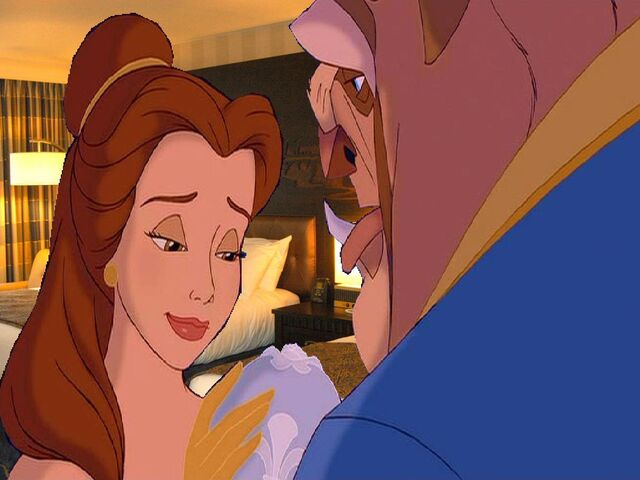 File:Belle sigh happily go to sleep at the Beast in the Disneyland Hotel Room.JPG