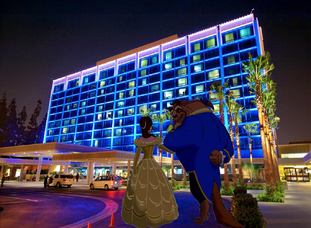 File:Belle and Beast arrived at Disneyland Hotel.PNG