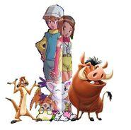Timon, Pumbaa, T.K, Kari, Patamon & Gatomon
