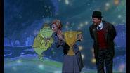 Eglantine kisses Mr Codfish on the head