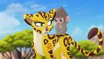 Fuli and young baboon