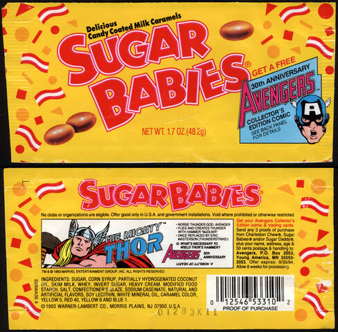 File:CC Warner-Lambert-Sugar-Babies-Avengers-30th-Anniversary-The-Mighty-Thor-candy-wrapper-package-front-1993.jpg