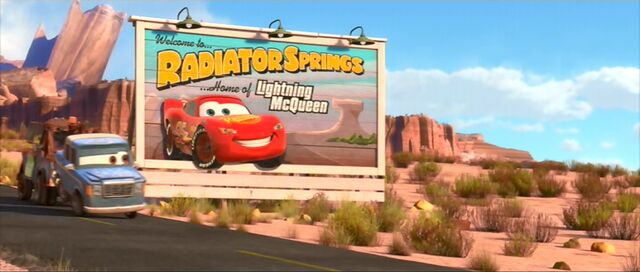 File:Radiator Springs sign with Lightning on it.jpg