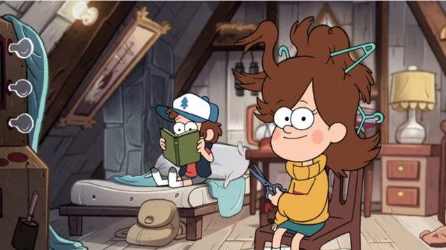 File:Dipper and mabel with scissors.png