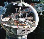 U S S Cygnus Command Tower Concept Art by Robert T McCall 02