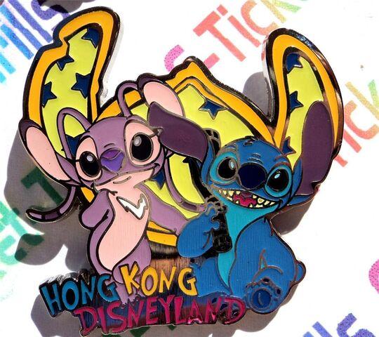 File:Disney Hong Kong Disneyland (Lilo) Stitch & Angel (Glows in Dark) 2011 HKDL Pin.JPG