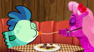 Milo and Glitter spaghetti share
