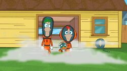 Phineas and Ferb in their space suits