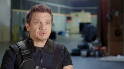 "Captain America Civil War Behind-The-Scenes ""Hawkeye"" Interview - Jeremy Renner"