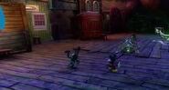Oswald Taking off his boomerang leg to destroy a beetleworx