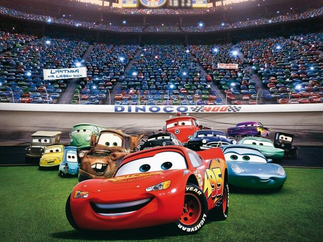 File:Red with the cast of characters from Radiator Springs.jpg