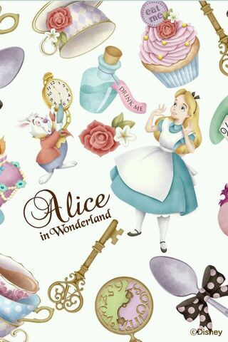 File:Alice and the White rabbit with Wonderland objects.jpg