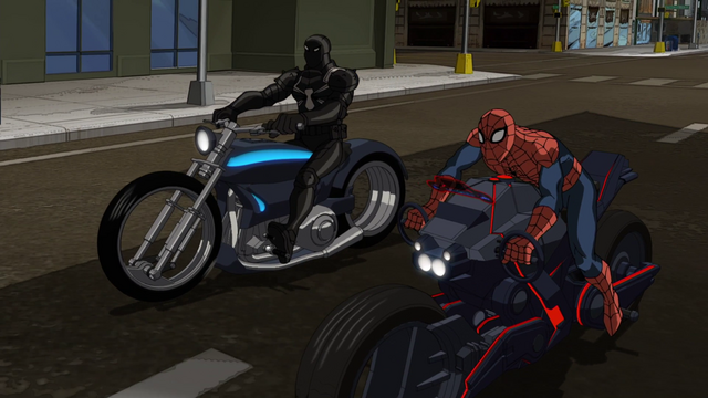 File:Spider-Man & Agent Venom on their SpiderCycles USMWW.png