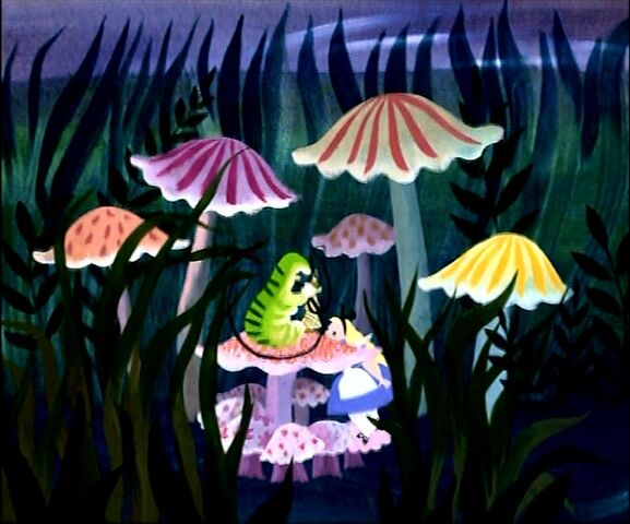 File:Disney's Alice in Wonderland - Caterpillar and Alice Concept Art by Mary Blair - 1.jpg